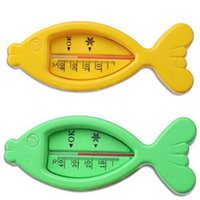 Wholesale 1PC Fish Shaped Plastic Float Floating Baby Babies Bath Shower Products Water Thermometers Household Thermometers