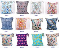 Wholesale NEW baby printed Wet Dry zipper diaper bag Infant Leopad Pockets Diapers Nappy Bags Reusable Cloth Diaper Wet Bag