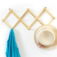 Wholesale Expandable Solid Wooden Coat Hanger Peg Keys Hat Towel Clothes Robe Rack Hat Closet Wall Mount Hook Fold