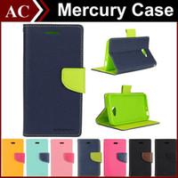 Acheter Mercure cas s4-Mercury Wallet cuir stand PU TPU Hybrid Cover Folio flip pour tous les téléphones iPhone 6 Plus 5 5S Galaxy S4 S5 S6 bord Note 3 Note 4 Z3