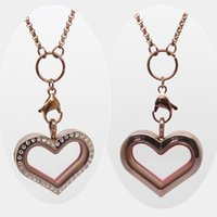 Wholesale Chocolate Living Locket - New! Meduim Heart Magnetic Closure Chocolate 316L Stainless Steel Living Charm Locket Crystal Pendant(only locket)