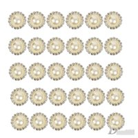 baby elements - 100 Crystal Pearl Button Metal Rhinestone Buttons For Wedding Invitations Or Baby Hair Embellish Craft