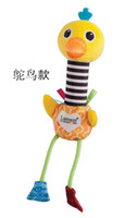 Wholesale Lamaze New two singing birds Toy flamingo and ostrich hand rods Bird plush baby toys Stuffed Doll L0391C