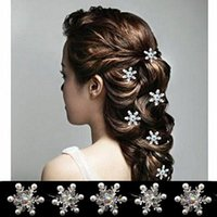 Wholesale New arrival rhinestone snowflake hair clasp Frozen Frozen pearl hair accessories bridal jewelry small U shaped clip