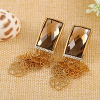 Wholesale Fashion champagne with flower pendant earrings Jewelry for the women to build pairs Order Z