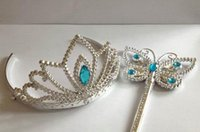 tiaras for kids - Cinderella Crown Magic Wand Set Girls Hair Accessories Butterfly Wands for Kids Cosplay hot selling in stock