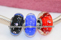 Cheap 3pcs lot 925 Sterling Silver Effervescence Murano Glass Beads Fit European Style Pandora Charm Jewelry Bracelets & Necklaces
