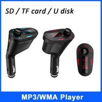 Wholesale Red Blue Light LCD Car Kit MP3 Player Wireless FM Transmitter Modulator LCD USB SD MMC w Remote Control Car MP3 FM Pen Drive