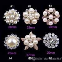 Wholesale 6 styles rhinestone alloy pearl crystal button embellishment for wedding invitation card or headband