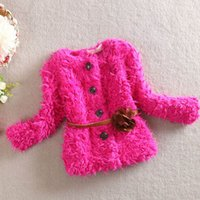 Wholesale 2015 Quality Little Girls Outwear Baby Girls Winter Coats Kids Thick Plush Clothes Girls Jackets with Sashes Children Clothing