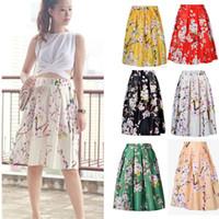 ladies white skirt - Women Lady Retro Hepburn Floral Print High Waist Pleated Midi Skirt Ball Gown Swing Skirt