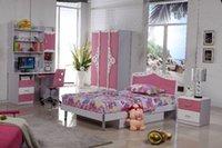 Wholesale Pink Princess Children Dream House Furniture Bedroom Furniture wood furniture Bed desk wardrobe cabinet girl bedroom MYL8830