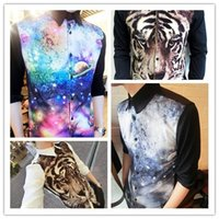 Wholesale 2015 Hot Selling New Arrival Popular Stand Collar D Printing Galaxy Shirts For Men Fashion Men s Printed Shirt