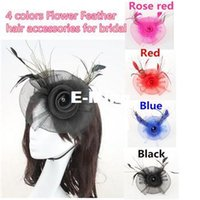Wholesale New Roses Flower And Feather Head Dress Bridal Fascinator Wedding Head Pieces Hats Hair Accessories For Bridesmaid Black Blue Red Pink Color