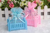 Favor Boxes Plastic Rectangle 50Pcs Lot baby crib Candy Boxes Chrildren Party And Wedding Favor Holders Crystal Bear with Ribbon Baby Bed Gift Boxes 2015 Augest Style