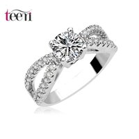 Wholesale Teemi White Gold plated Clear Cubic Zirconia Bands Halo Engagement Wedding Rings For Bridal Women Jewrly Accessories