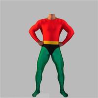 aquaman costume - Aquaman Cosplay Costume Red Comic Costumes Different Sizes Unisex Halloween Costumes Elastic Lycar Fabric Classic Design
