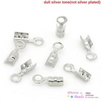 crimp cord end - Copper Necklace Cord Crimp End Caps W Loop Silver Tone mm x mm quot x quot B28276