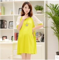 Wholesale Hot mama new summer pregnant women dress modal lace pregnant women dress