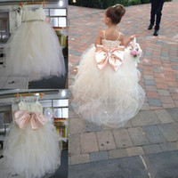 Wholesale 2016 Real Image Ball Gown Flower Girls Dresses For Weddings Crystal Sashes Pink Bow Tulle Floor Length Spaghetti Ivory Kids Bridesmaid Dress