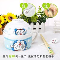 Wholesale Katie small yellow man day Doraemon cartoon cute creative ceramic cups of instant noodles with a spoon cutlery sets with cover