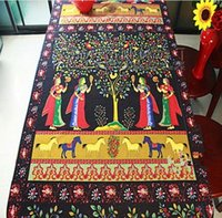 Wholesale cm cm Cotton printed fabric of linen imitation wax ladies beauty of India horse tree birds folk style table cloth