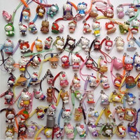 Cheap Retail 50 pcs lowest price hello kitty cell mobile phone charms with straps mixed hot sale Free Shipping