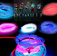 3M Flexible Neon Light Glow EL Câble de fil métallique Flexible Neon Light 8 couleurs Car Dance Party Costume + Controller Christmas Holiday Decor Light