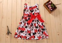 Cheap 2014 Child Clothing Baby Girls Dress Lovely Color Dot Mickey Mouse Minnie Dress for Summer Kids girls clothes cute Mickey Mouse Minnie Dress