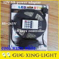 Wholesale 2016 AC85 V Led Strips light m set warm cool white SMD Waterproof Keys IR Remote Controller a Power Adapter advertisement decor
