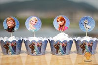 Wholesale Frozen Party Decorations Event Cupcake Wrappers Elsa Anna Princess Olaf Cup Cake Toppers Picks Kids Birthday Supplies Party Favors