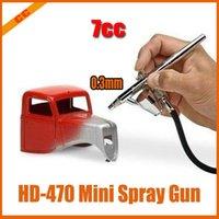 Cheap Free shipping 5pcs lot Air Brush Spray Gun Dual Action Airbrushing Kit 0.3mm HD-470