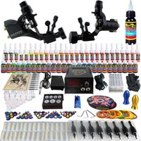 2 Guns rotary tattoo kit - Complete Tattoo Kits Pro Rotary Tattoo Machine Guns Inks Power Supply Needle Grips Taty Set TK255