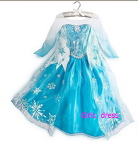 Cheap 10% off Girls Dresses Frozen long sleeves Fall dress 2014 girl party dress anna princess costume baby girls elsa dress frozen dress