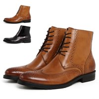 cowboy boots - 2015 New Autumn Genuine Leather Formal Brand Man Cut outs Ankle Boots Men s Cowboy Sneakers Rubber Short Martin Shoes GLM256
