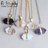 artilady - Artilady amethyst crystal pendant necklace fashion18k gold plating stone chain pendant necklace christmas gift for women QU