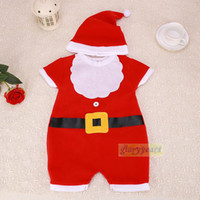 Wholesale 2015 New Famous Brand Baby Romper Set Winter Unisex Baby Clothes Christmas Santa Claus Suit Kids Short Sleeve Funny Baby Rompers