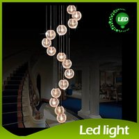 aluminium stairs - 2015 Pendant Lamps LED Aluminium Glass Ball Pendant Lamp Stair Bar Droplight Aluminium Pendant Lighting Long Spiral Staircase Lamp Droplight