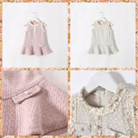 Wholesale Princess Kids Girls Crochet Lace Lapel Ruffles Party Dresses Sweet Girls Sleeveless Beige and Pink Fall Winter Dresses