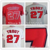 angeles buy - 2015 New Mike Trout jersey Custom baseball jerseys cheap Los Angeles Angels baseball jersey buy direct from china white red