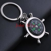 Wholesale Hot Survival Alloy Wheel Ruder Compass Keychain Outdoor Camping Hiking Key Ring