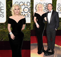 arabic sexy lady - 73rd Golden Globes Lady Gaga Black Sexy Celebrity Dresses Off Shoulders Velvet Backless Mermaid Cap Sleeves Arabic Evening Gowns with Train