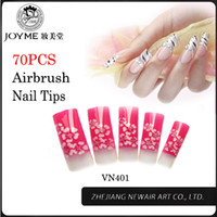 airbrush nails salon - False Nail Tips Faux Ongles Beauty Flowers Pattern Art Tips Longer Airbrush Fake Nail Half Cover Salon Finger Tip