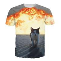 Wholesale tshirts fashion Cat Explosion tee shirt women men print d t shirt Summer Unisex harajuku t shirt casual cat t shirt plus size