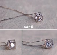 Wholesale New Arrive S925 sterling silver love cube crystal pendants Ms square window Korean love silver jewelry women s jewelry