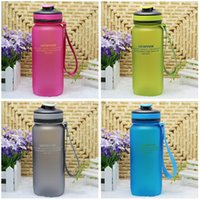 Wholesale Travel Sport Portable Water Bottle Cycling Frosted Plastic Water Bottle Unbreakable Leak Proof Bottle with String Garrafa Cup LJJE506 pc