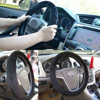 Wholesale 1 Soft Plush Car Steering Wheel Cover Black Solid Winter Grips Car Accessory Car Styling