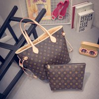 Wholesale Vintage handbags shoulder bag big bag handbag leisure shopping bag two sets
