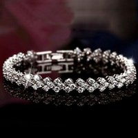 Wholesale New Style Luxurious Roman Crystal Tennis Bracelet Sterling Silver Bracelet High Quality