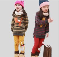 cat - Korean Children Clothes Winter Girl Set Thicken Stripe Cat Dress Leggings Kids Suits Add Wool Warm Colour Fit Age WD455
